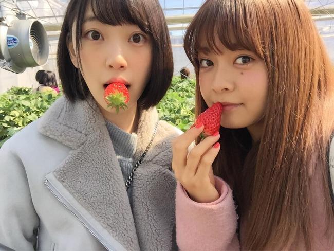 乃木坂46の堀未央奈と、AKB48湯本亜美がいちご狩りへ行く!