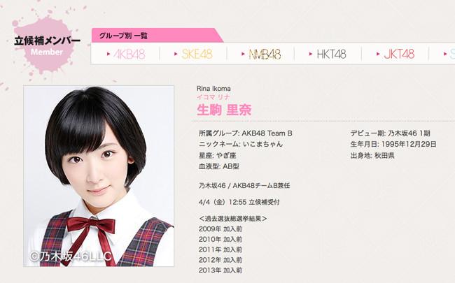 乃木坂46生駒里奈がAKB48総選挙に立候補! - AKB48まとめんばー