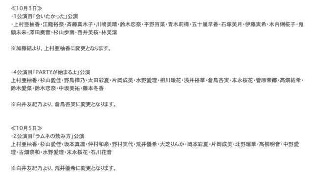 SKE48 12th Anniversary Fes 2020 出演メンバー変更のお知らせ