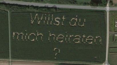 【悲報】ドイツ人さん、畑にプロポーズの言葉を描いた結果wwwwwwww(画像あり)