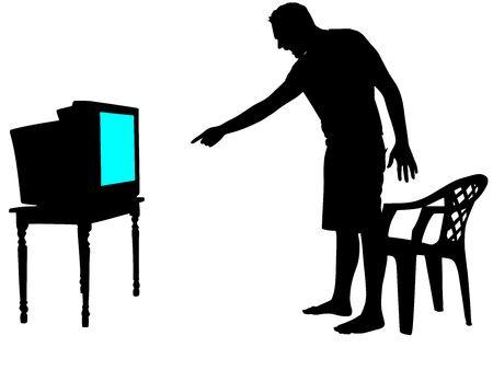 55227130-テレビを見て緊張して怒っている男ベクトル