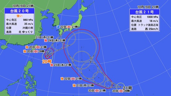 【悲報】2つの台風が日本に接近中
