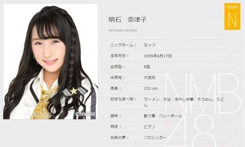 明石奈津子『一日に一人NMB48のメンバーについて語るスレ2016』【2人目】