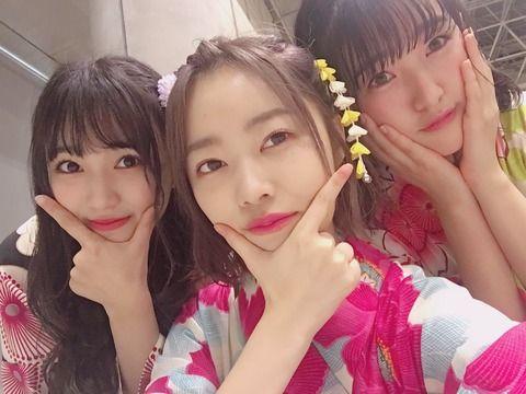 浴衣の指原莉乃・矢吹奈子・田島芽瑠が3ショット