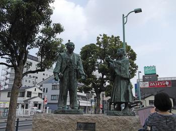 秀吉と三成の銅像。