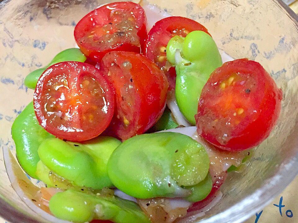 そら豆とプチトマトのサラダ SnapDish 料理カメラ