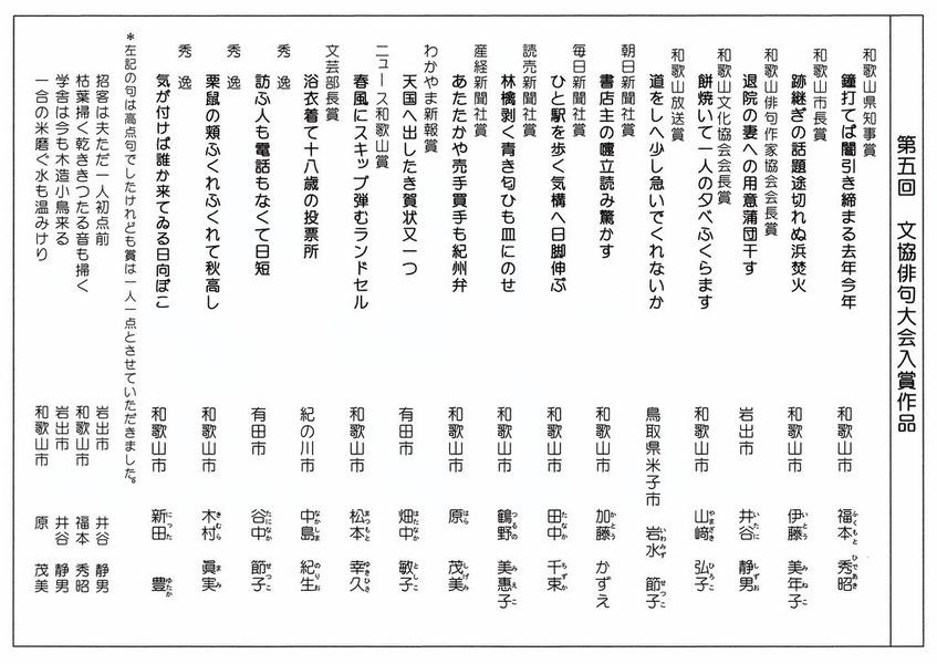 俳句大会(入賞)