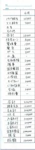 年間の家計簿一ヶ月分(記入例)