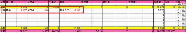 エクセル家計簿(クレジットカード毎月)