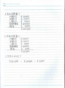 月1家計簿(貯金簿)書き方