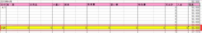 エクセル家計簿(毎月の家計簿小計欄記入例)