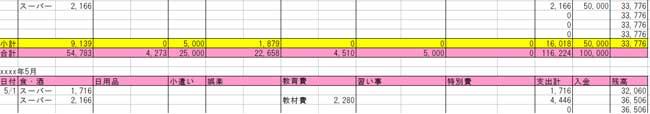 エクセル家計簿(毎月の家計簿翌月へ繰越し)