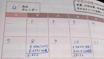 スケジュール帳に家計簿を書く方法2