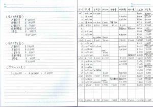 手書き家計簿の見本(記入例)見開き1ページ