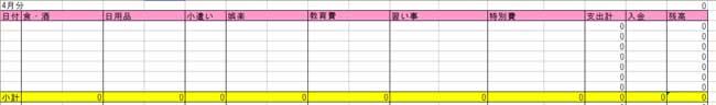 エクセル家計簿(毎月の家計簿)