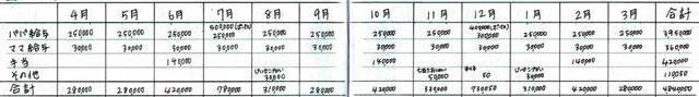 年間の家計簿(収入欄の書き方)