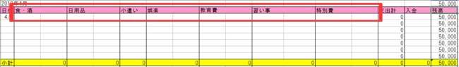 エクセル家計簿(費目欄記入例)