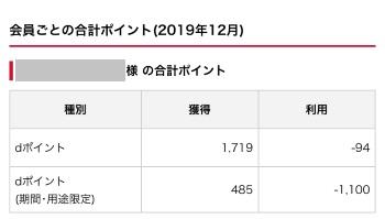 dポイント獲得履歴公開(2019年12月)