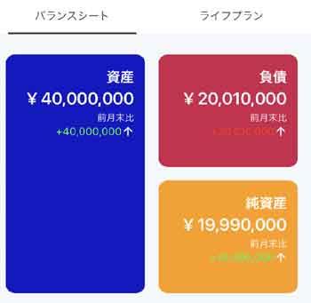 家計のバランスシート作成アプリ「Fortune Pocket 家計とライフプランを考える 」のスクリーンショット