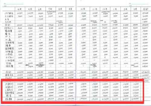 家計簿(年間収支表)
