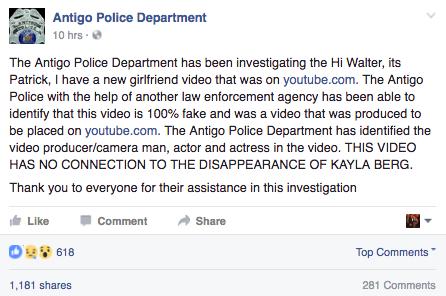 antigo-police-department-statement-hoax-video-not-kayla-berg