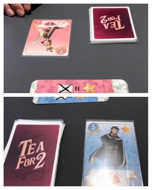 ピンクが7のカードで青は5のカード