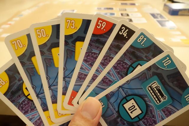 スコットランドヤードカードゲームのカード8枚の写真