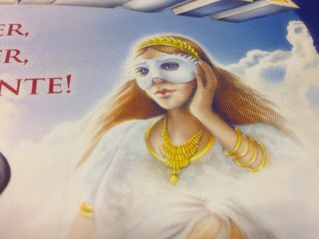 仮面女性イラストのアップ写真