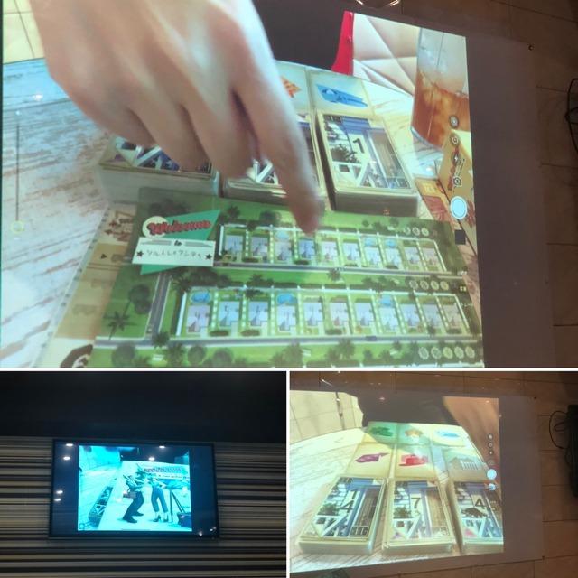 プロジェクターでゲームの説明をしているところ