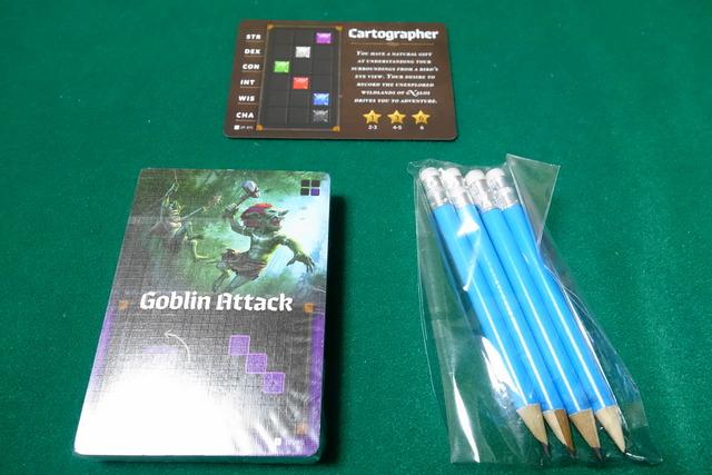 カードの束と鉛筆とロールプレイヤーのプロモ1枚の写真