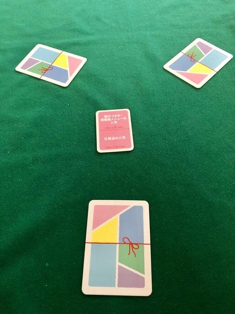 カードを3人に配ったところ