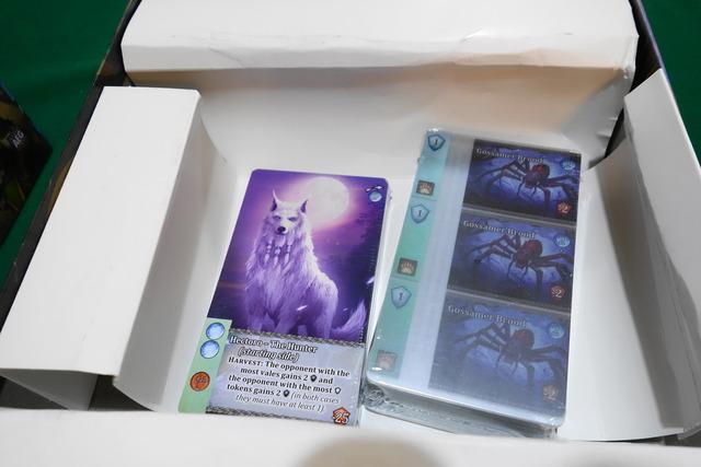 2束のカード。1つには白いオオカミが描かれている