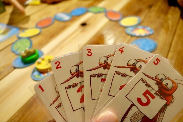 手に持った5枚のカードの写真