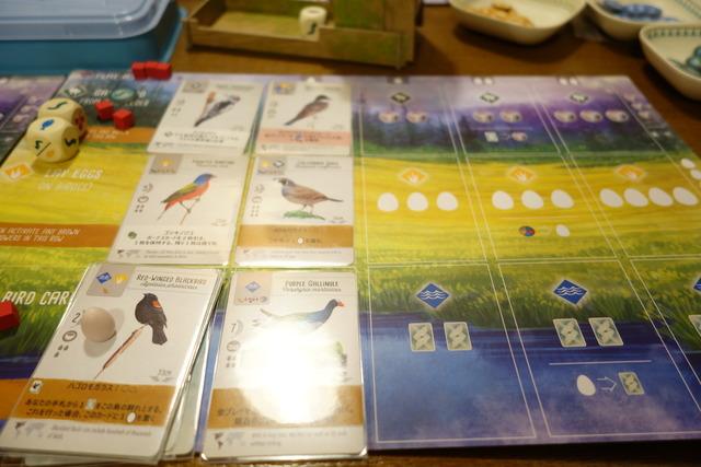 3段に2枚ずつ鳥カードが並んでいる