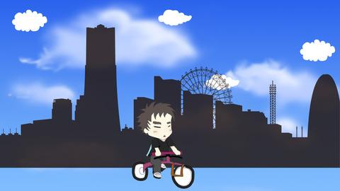 マラソンタイトル画面-自転車