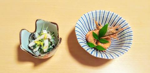 日生 上内 太刀魚とタコの酢の物 エビの煮物