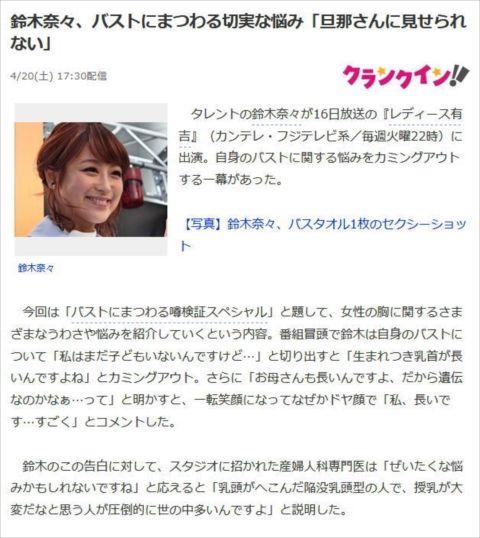 【ポロリ悲話】鈴木奈々(30)びろーんと飛び出た長乳首…Aカップ貧乳で巨大レーズンは恥ずかし過ぎた…