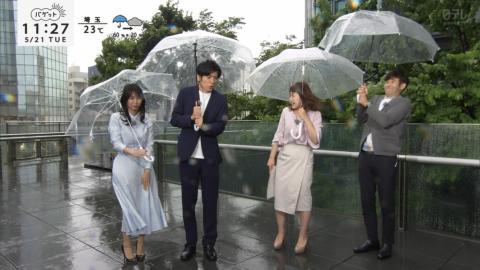 【放送事故】日テレ女子アナが突風豪雨の生放送でパンツ透けてしまうwwwwwwwww