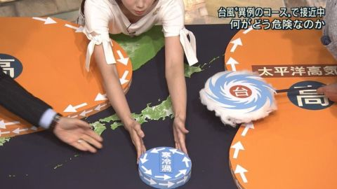 【放送事故】天井からのカメラで女子アナのおっぱい谷間が映ってしまうwwwwwww