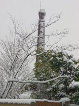 雪の賀茂鶴 煙突
