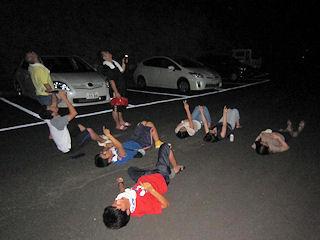 駐車場で星空観察