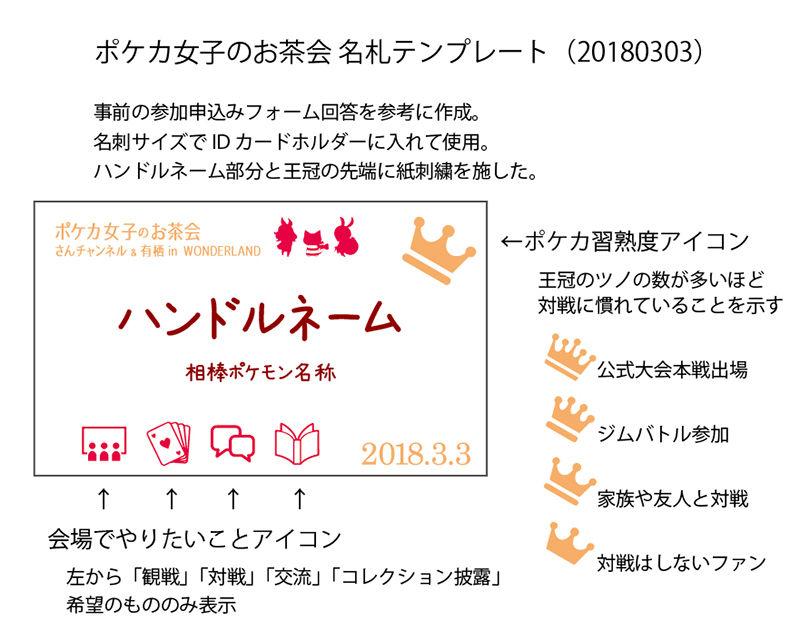 非公認イベント「ポケカ女子のお茶会」1名札テンプレート(2018年3月)