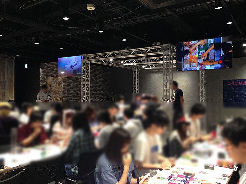 ポケモンカード非公認ニャオニクス杯会場とモニター卓(2017年7月)