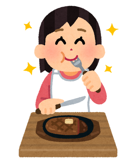 syokuji_steak_woman