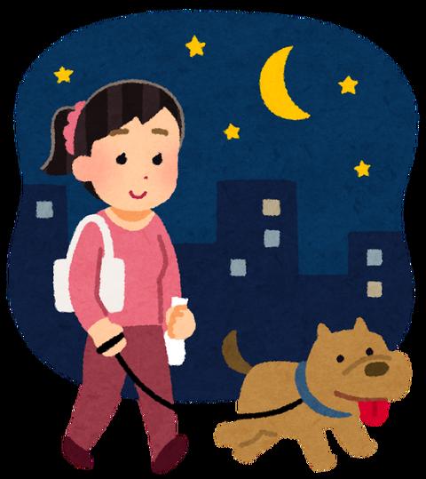 pet_dog_sanpo_yoru_woman