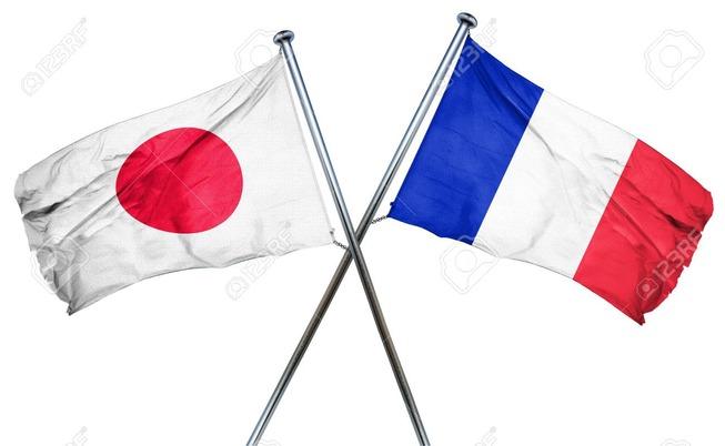 56719996-フランスの国旗と日本国旗