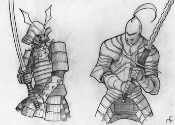 samurai_versus_knight_by_xxxalfaxxx