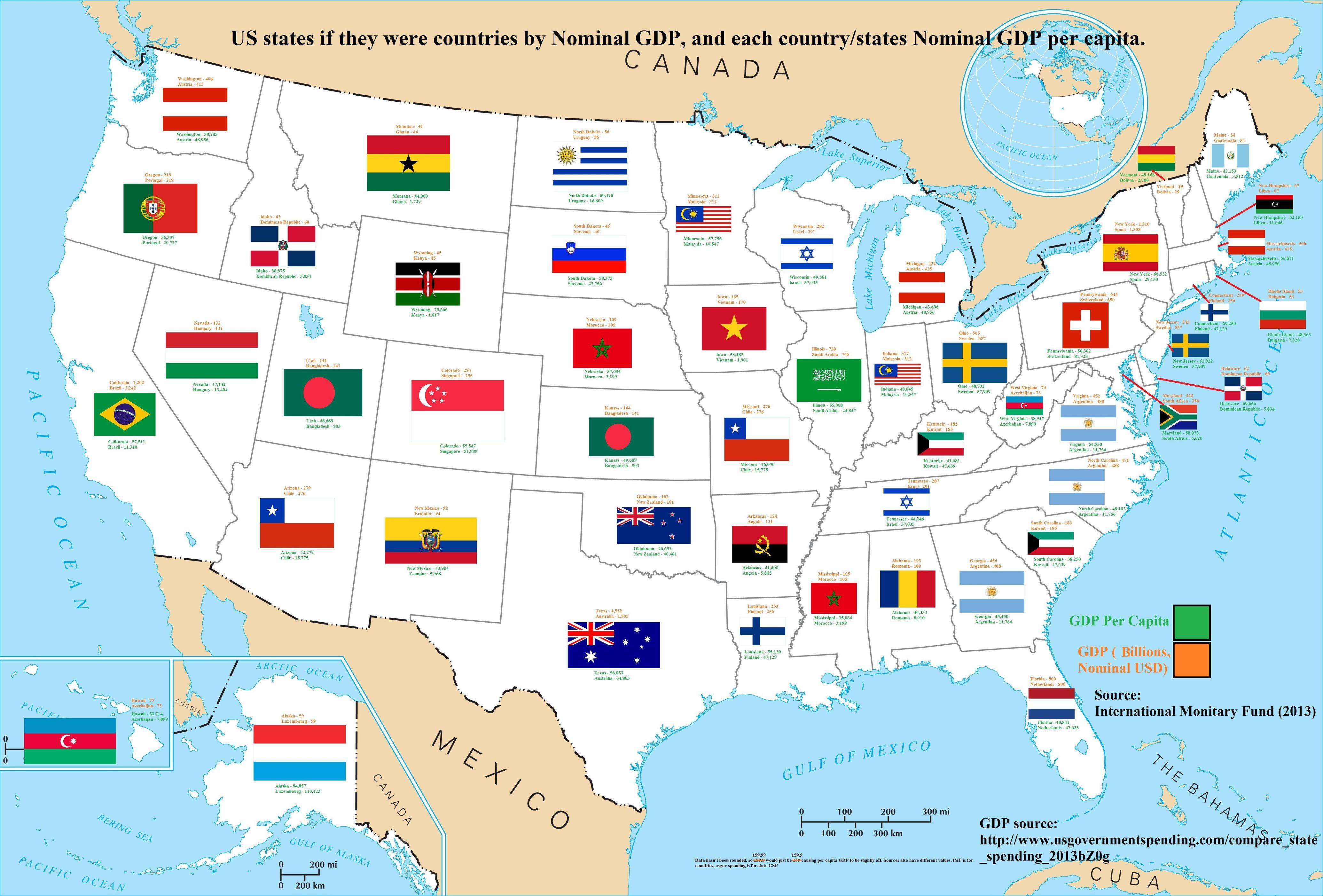 海外の万国反応記@海外の反応外国人「GDPでアメリカの各州を世界の国に置き換えるこうなる…!」 【海外の反応】コメント ※httpや特定の単語をNGワードに設定しております。また、不適切と管理人が判断したコメントは削除致します。ご了承下さい。コメントする