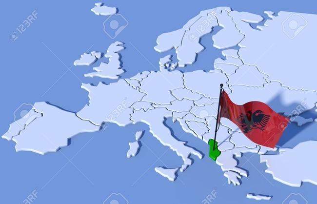 37484037-3d-map-europe-albania-flag-Stock-Photo