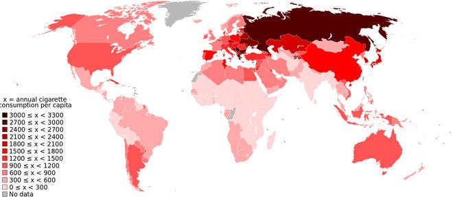 タバコ 年間 一人あたり消費量 世界 海外の反応